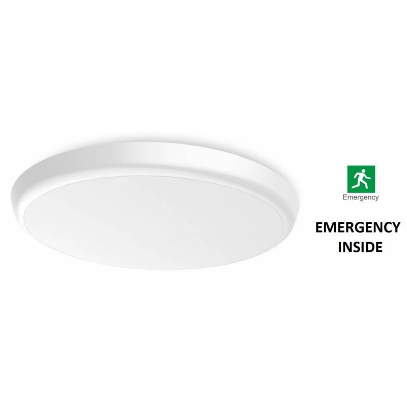 Plafoniera LED tonda 30 cm Ø  con EMERGENZA INTEGRATA - 18 W