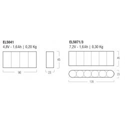 LED Emergency Kit EL5041 - Autonomy 1 h - Batt 4,8 V - 1,6 Ah