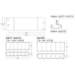 Kit Emergenza LED EL6171 - Autonomia 1 h - Batt 7,2 V - 1,6 Ah