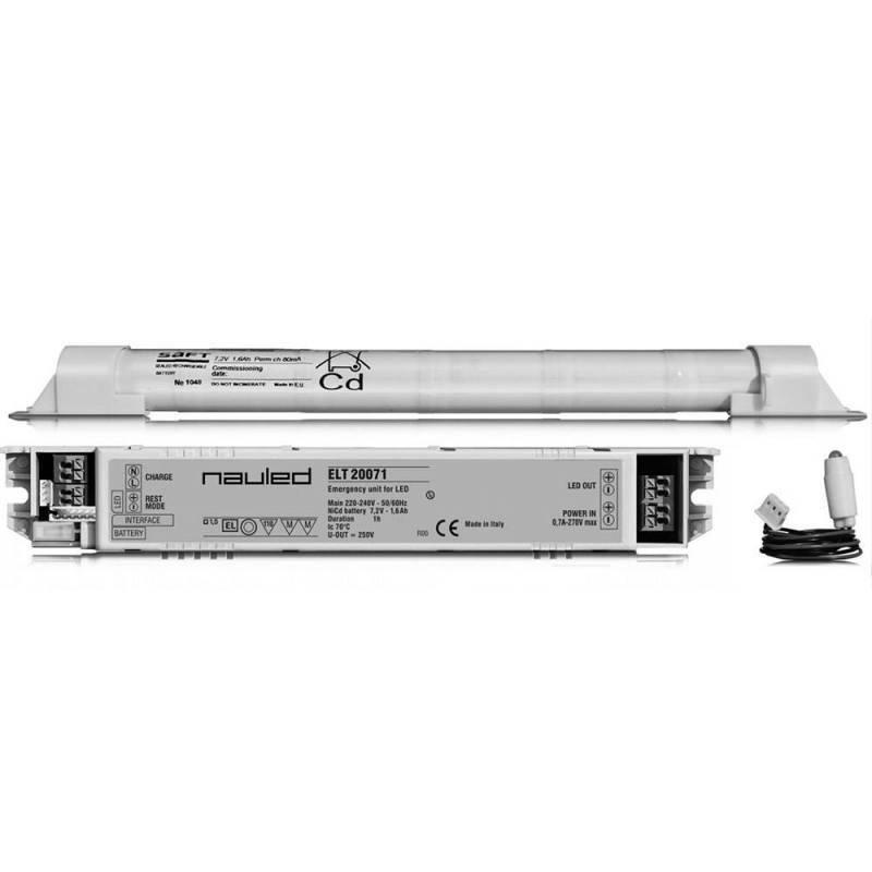 Kit Emergenza LED ELT20071 - 200 V - Autonomia 1 h - Batt 7,2 V - 1,6 Ah