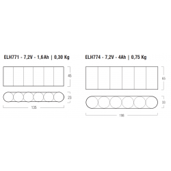 Kit Emergenza LED ELH771 - Lampade Led 12V - GU5.3 - Autonomia 1h - 7,2 V - 1,6 Ah