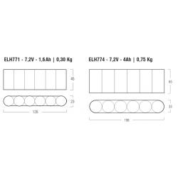 LED Emergency kit ELH771 - Lampade Led 12V - GU5.3 - Autonomia 1h - 7,2 V - 1,6 Ah