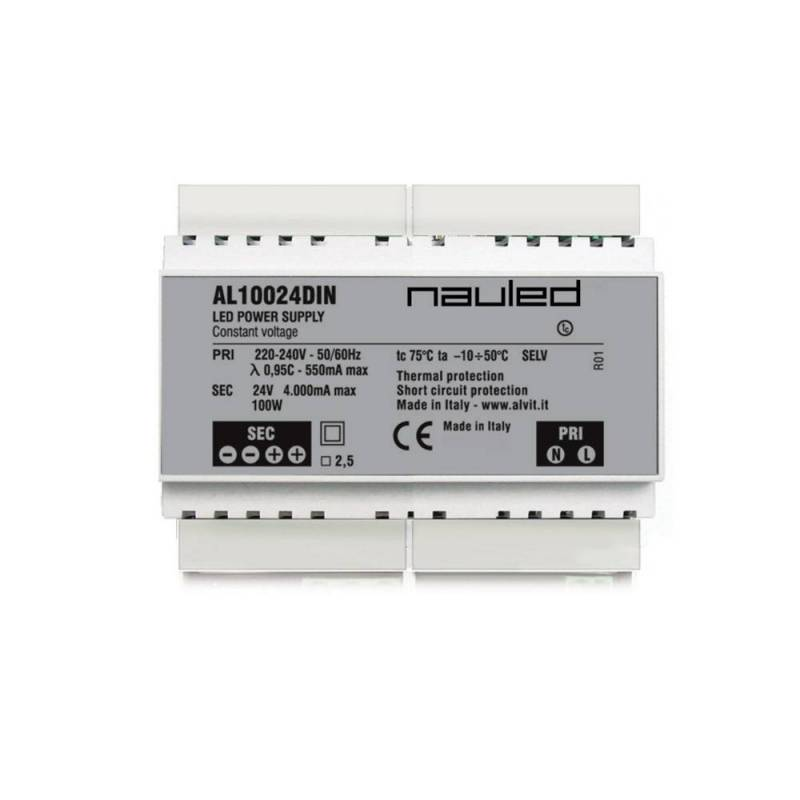 AL10024DIN Alimentatore per LED ON/OFF - CV 24 V - 100 W