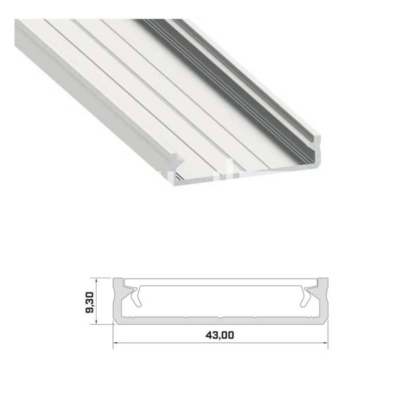 Profilo led alluminio NP287 - piatto