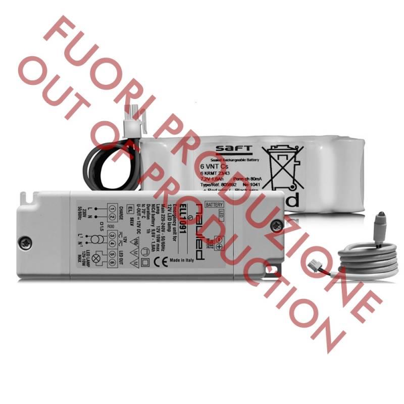 Kit Emergenza LED ELL2094 - Lampade Led 12V - GU5.3 - Autonomia 1h - 9,6 V - 4 Ah