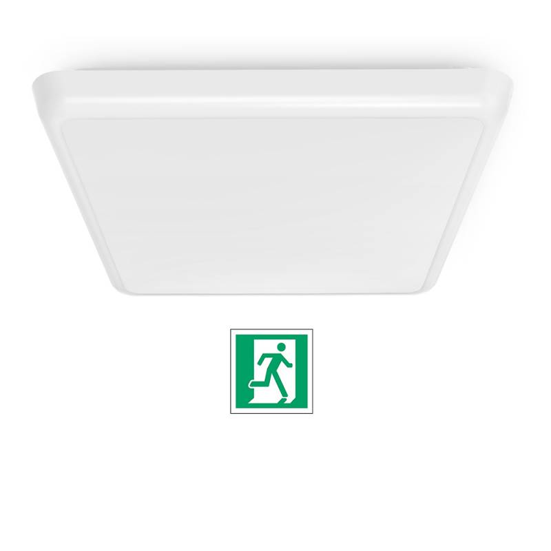 SQUARE LED ceiling light 25x25 cm - INTEGRATED EMERGENCY - 12 W